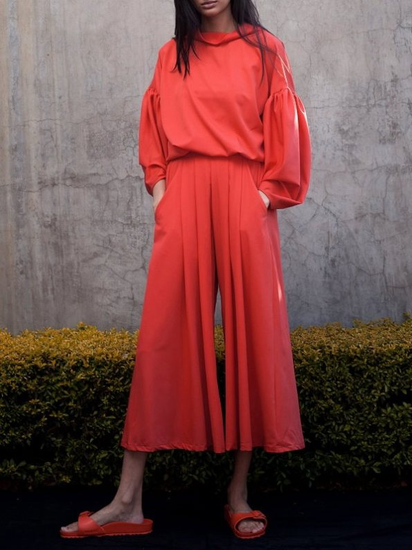 Erre Red Flex Sweater with Matching Flow Culottes
