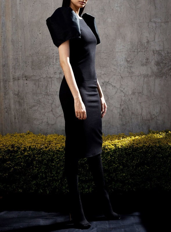 Erre Silhouette Black Pencil Dress Side