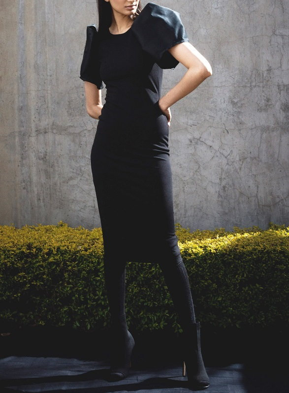 Erre Silhouette Pencil Dress Black Front
