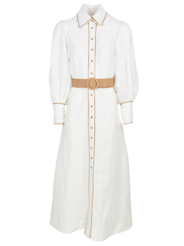 Smudj Aaron Maxi Dress White Linen