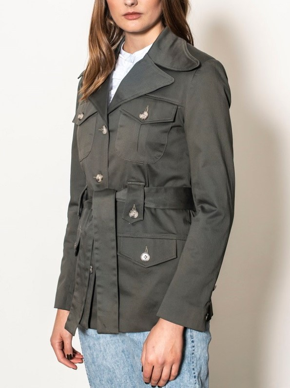 Smudj Peggy Safari Utility Jacket Forest Green Side Cropped