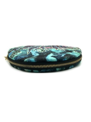 Round velvet pouch made n South Africa with Africa Art