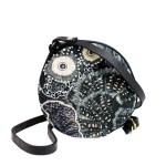 Round crossbody bag black with South African Artwork