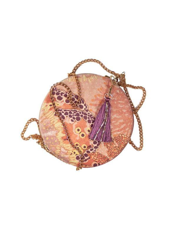 Wanderland Round Velvet Pouch Bag Round With Tassle and Chain