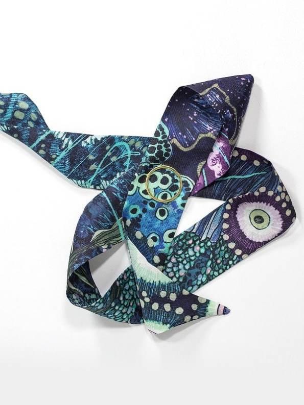 Wonderland Collective Oceanum Silk Twilly Scarf with Gold Ring Azure Blue