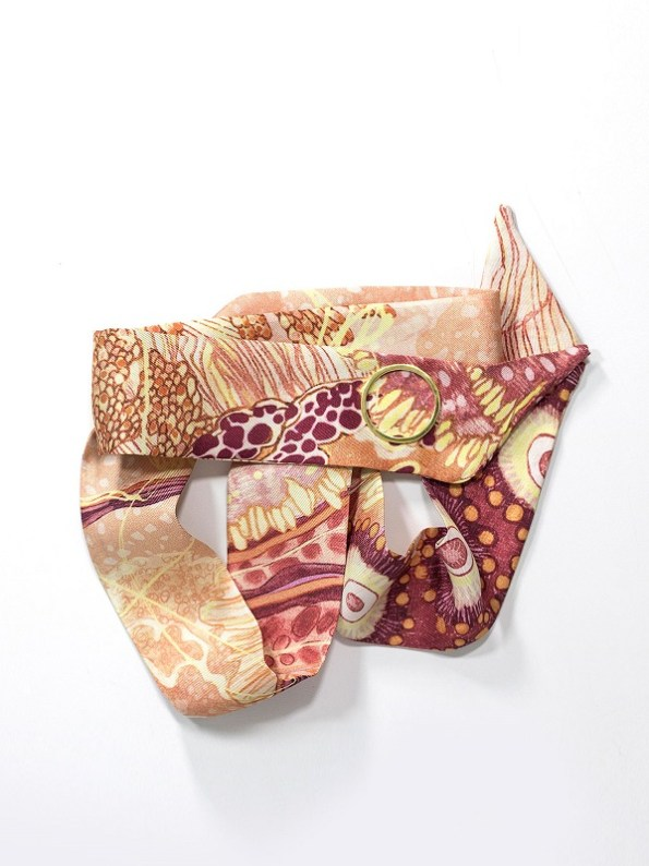Wonderland Collective Oceanum Silk Twilly Scarf with Gold Ring Coral