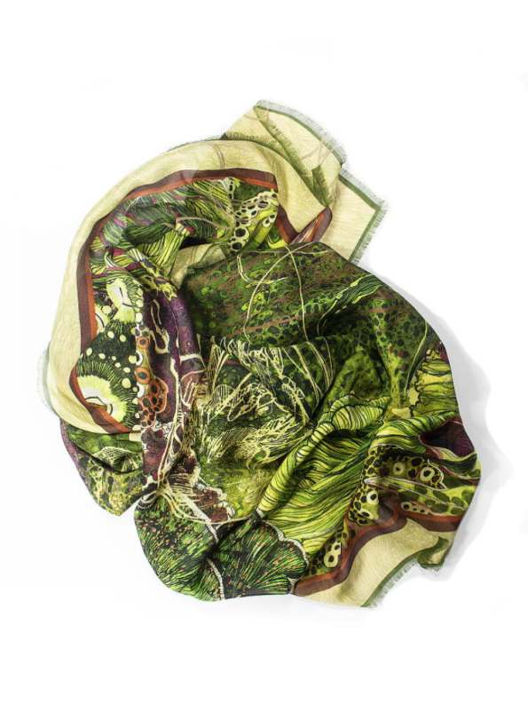 Aureum Oceanum Moss Silk and Modal Scarf