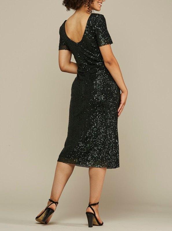 Mareth Colleen Blink Sequin Evening Dress Green Back