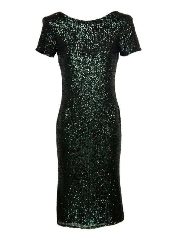 Mareth Colleen Blink Sequin Evening Dress Green