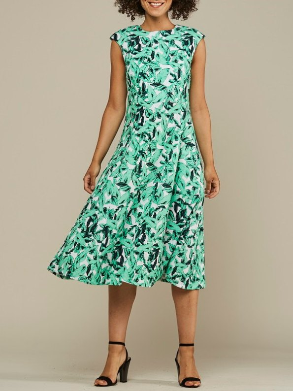 Mareth Colleen Jan Dress Basil Print Front