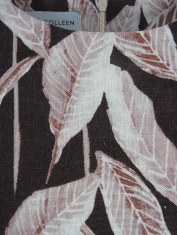 Mareth Colleen Jan Leaf Print Linen Dress Fabric
