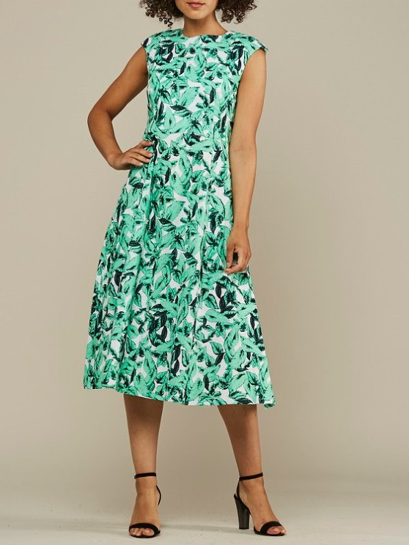 Mareth Colleen Jan Summer Dress Basil Print Front