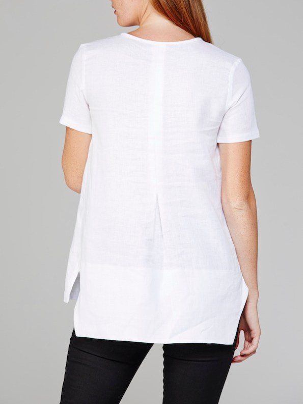 Mareth Colleen May Top White Linen Back