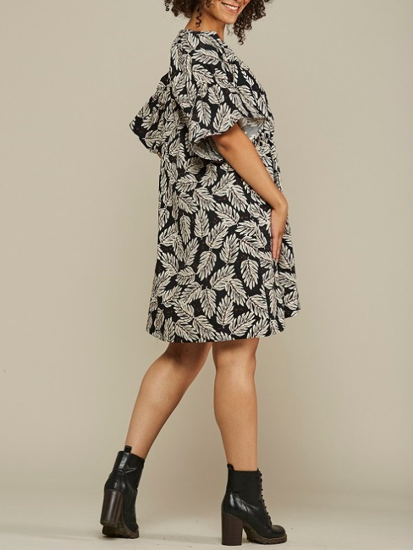 Mareth Colleen Nina Cotton Dress Leaf Print Back