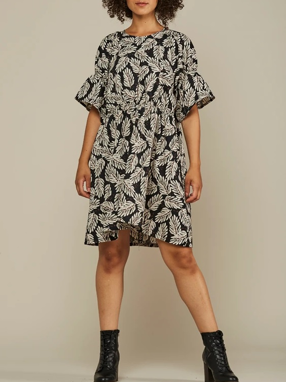 Mareth Colleen Nina Cotton Dress Leaf Print Front