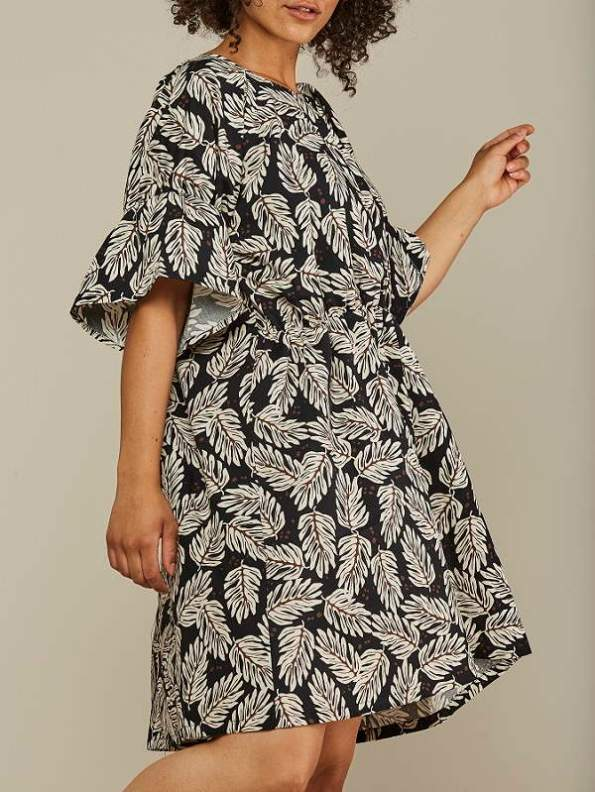 Mareth Colleen Nina Cotton Dress Leaf Print Side Cropped