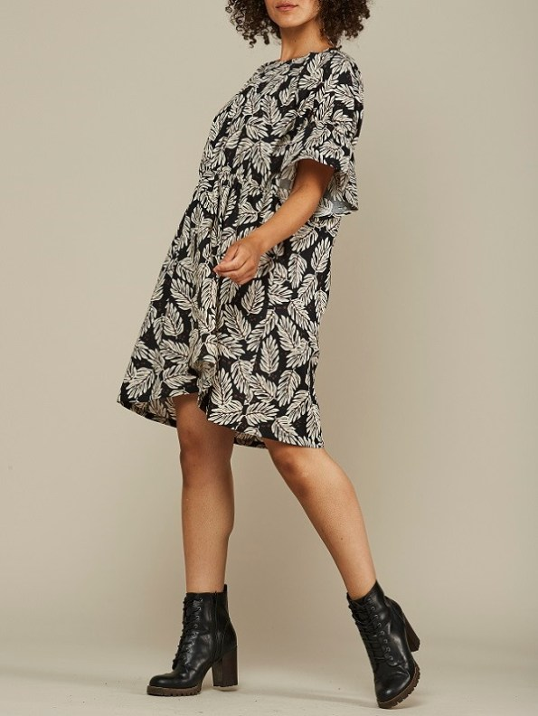 Mareth Colleen Nina Cotton Dress Leaf Print Side