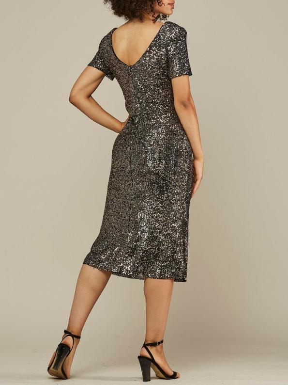 Mareth Colleen Sequin Dress Gold and Silver Back