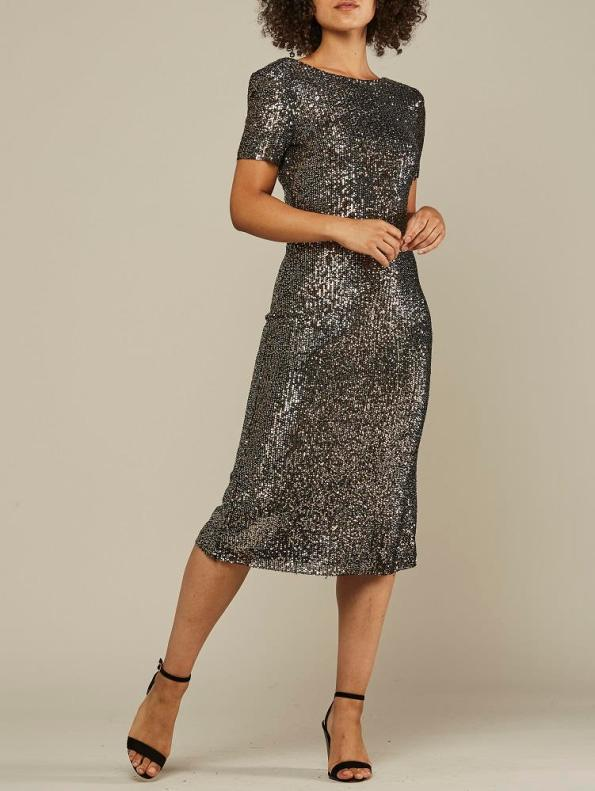 Mareth Colleen Sequin Dress Silver Front