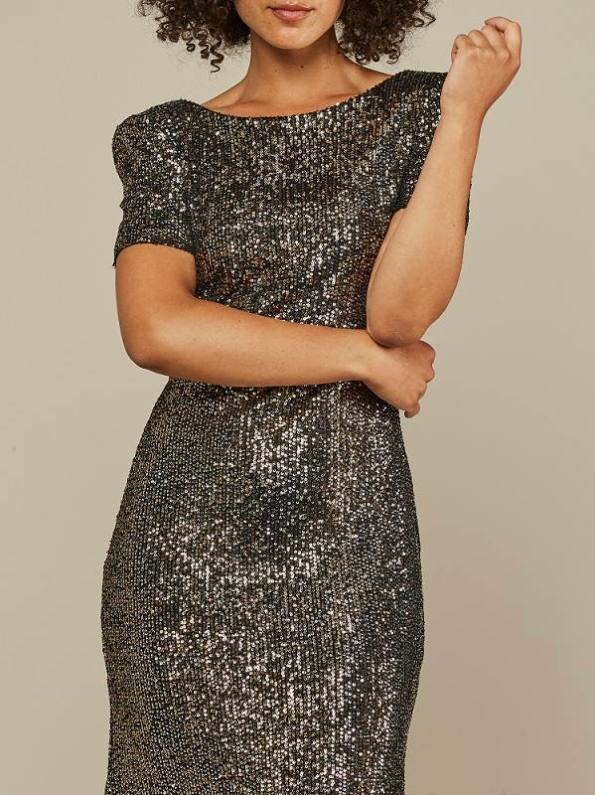 Mareth Colleen Sequin Dress Silver Gold Cropped