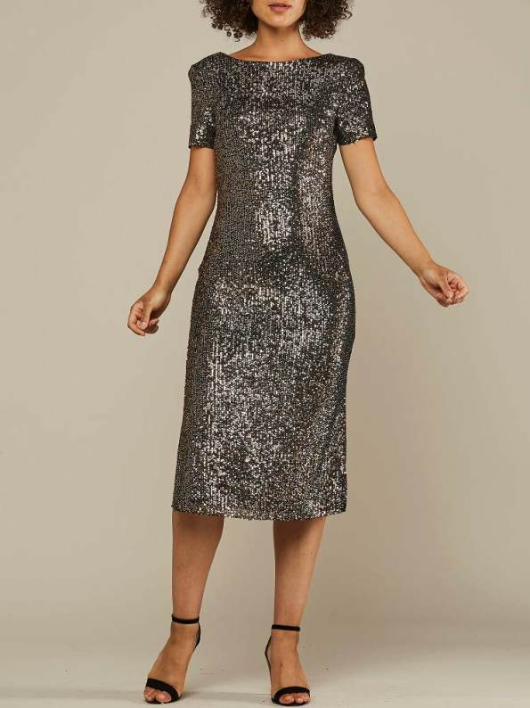 Mareth Colleen Sequin Dress Silver and Gold Front