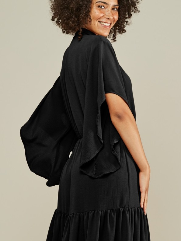 Mareth Colleen Tristan Tiered Dress Black Back