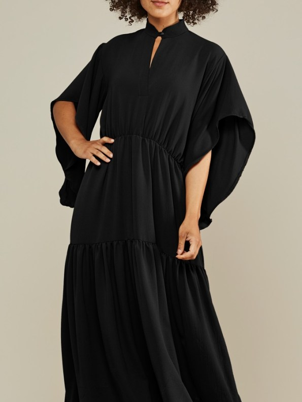 Mareth Colleen Tristan Tiered Dress Black Front