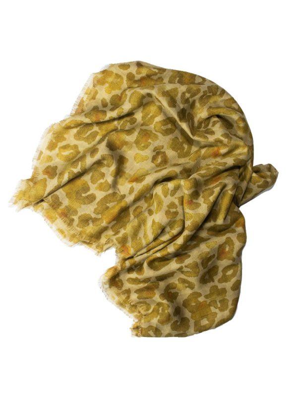 Wanderland Collective Aureum Gold Leopard Silk Scarf