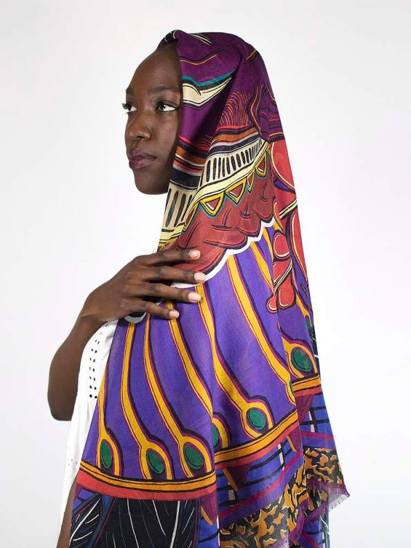 Wanderland Collective Zhi Zulu Matriarch Silk Scarf Styled Over Head