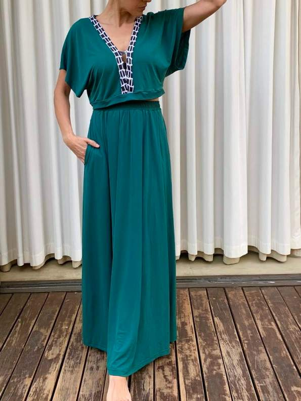 African Style Story Green Maxi Dress Black & White Trim