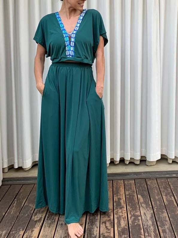 African Style Story Green Maxi Dress Green & Blue Trim