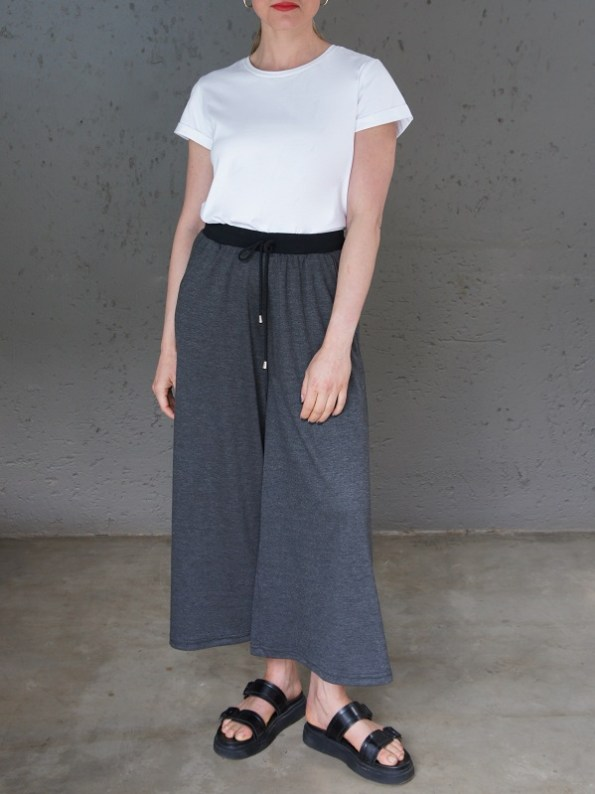JMVB Athleisure Culottes Charcoal with White T-Shirt Front