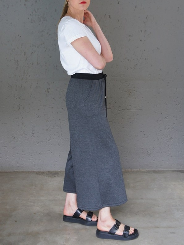 JMVB Athleisure Culottes Charcoal with White Tee Shirt Side