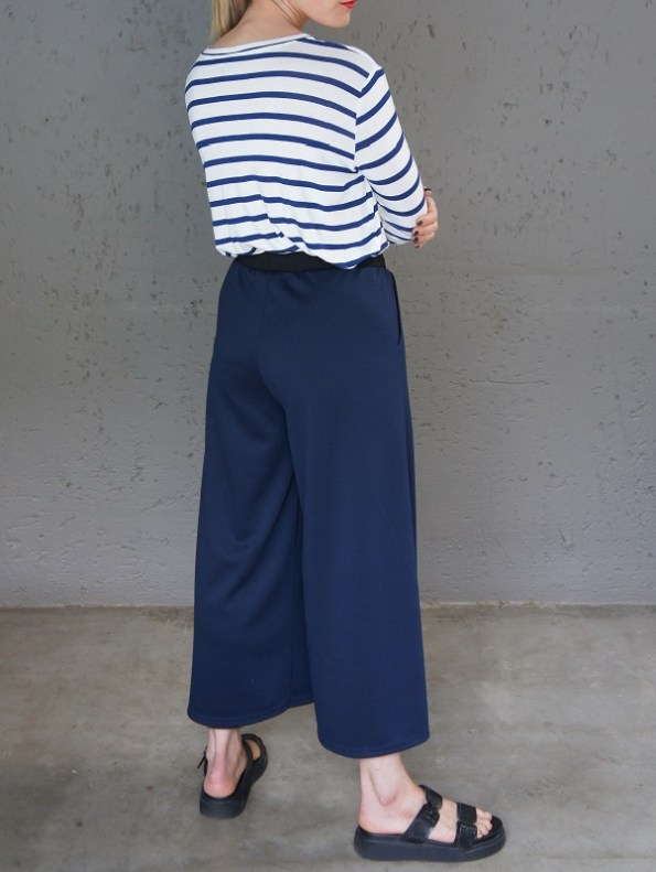 JMVB Athleisure Culottes Navy with Striped T-shirt Back