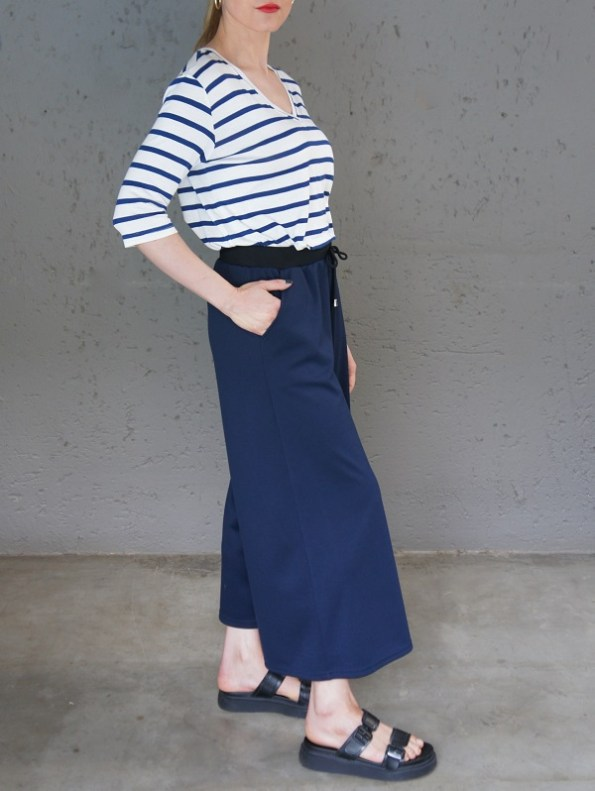 JMVB Athleisure Culottes Navy with Striped T-shirt Side