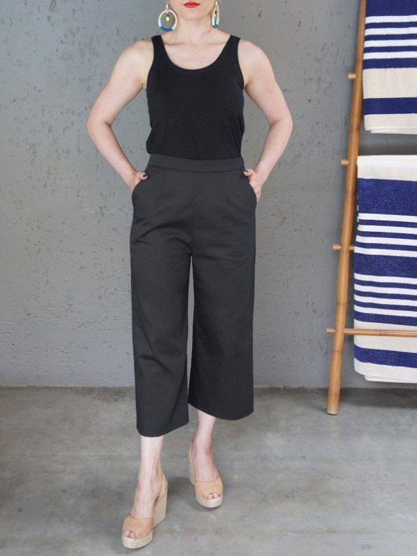 JMVB Black Tank Top and Black Culottes Front
