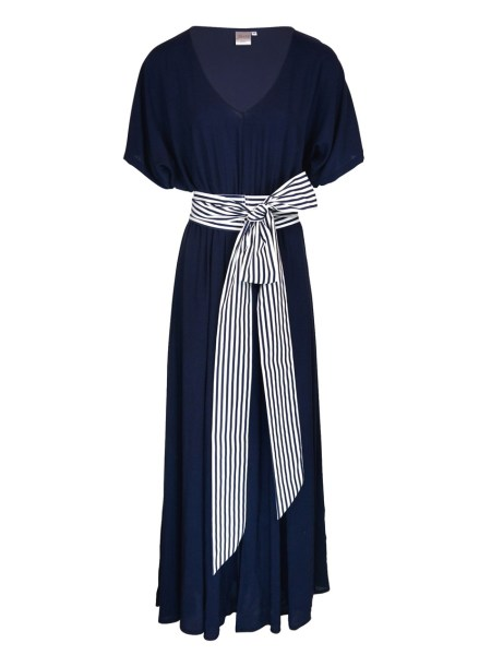 Navy Maxi dress with striped belt South Africa
