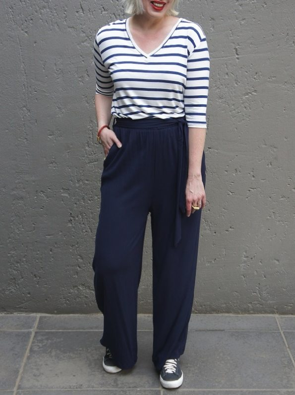 JMVB Cannes Pants Navy with Striped Shirt