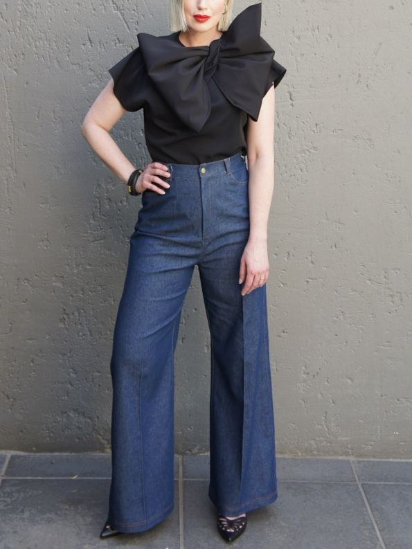 JMVB High Waisted Wide Leg Jeans with Erre Bow Top