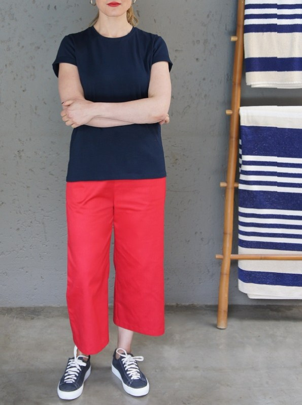 JMVB Jimmy D T-shirt Navy with Culottes Shirt Out