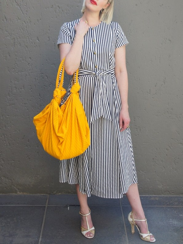JMVB Navy and White Striped Dress with Yellow Bag