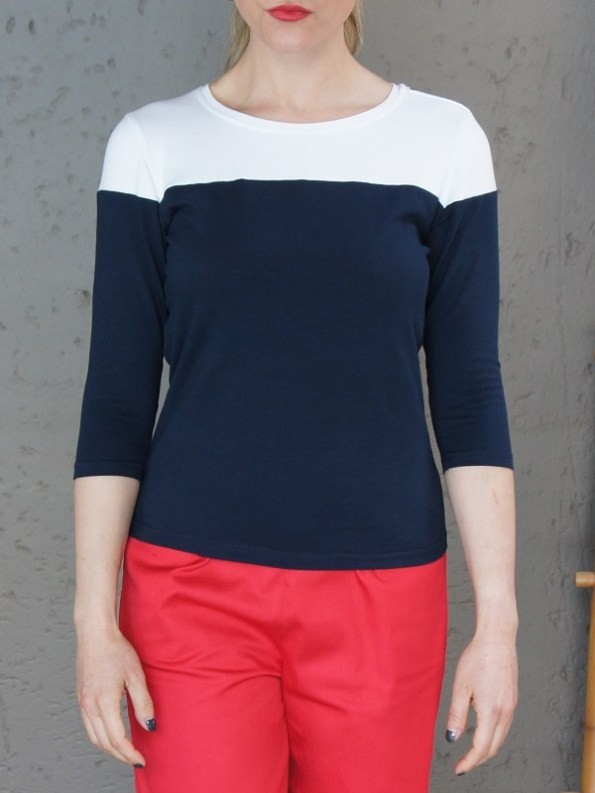 JMVB Three Quarter Sleeve Colour Block Top Navy and White Cropped