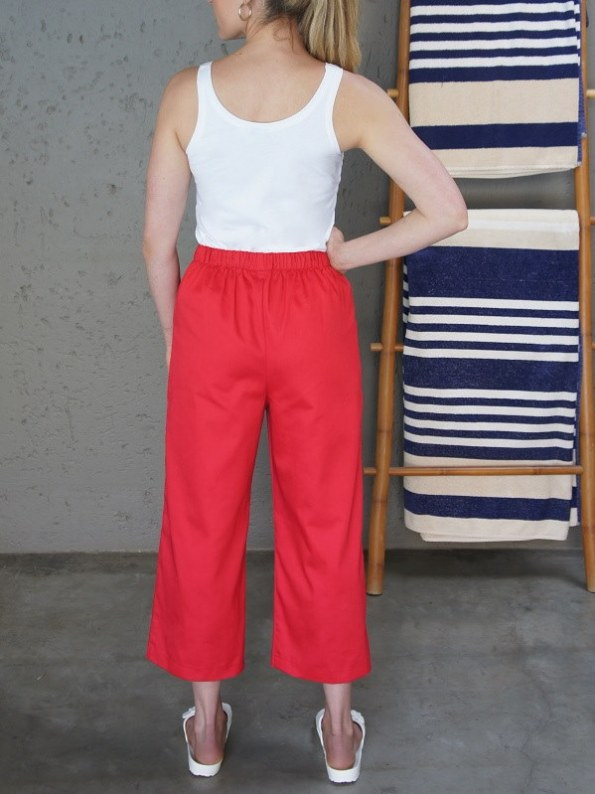 JMVB White Tank Top with Red Culotte Back