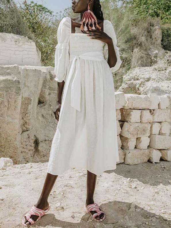 Asha Eleven Jani Dress White Linen Front