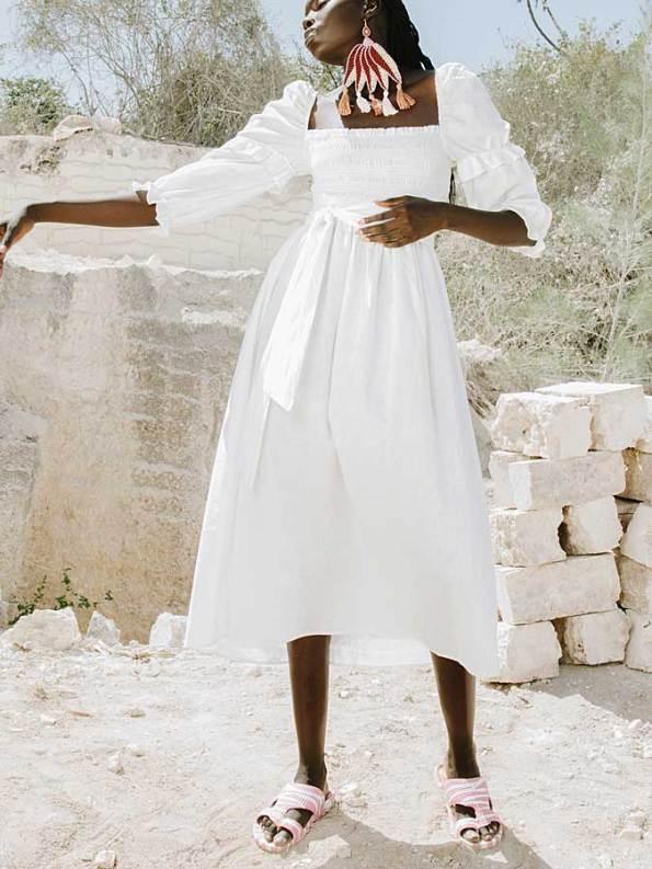 Asha Eleven Jani Dress White Linen Side