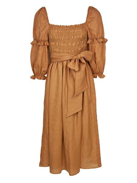 Brown linen midi dress South Africa