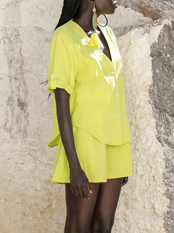 Asha Eleven Kazi Blouse with Salama Shorts Limon Cropped
