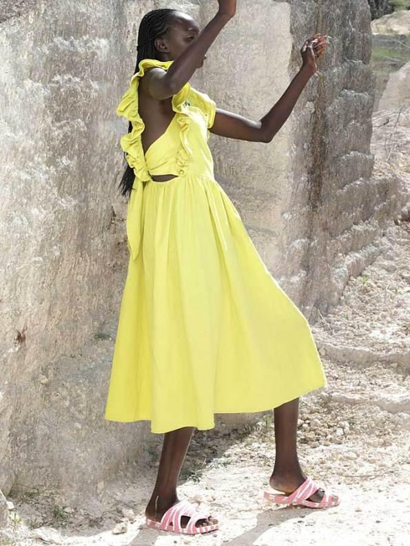 Asha Eleven Pambo Dress Limon Tie Detail