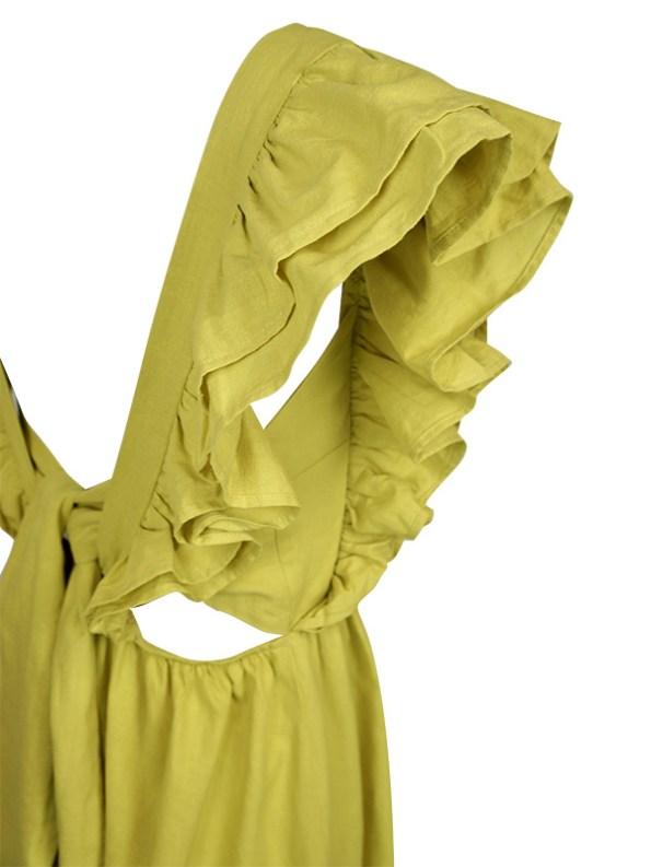 Asha Eleven Pambo Hemp Dress Limone Green Back Detail