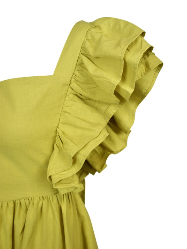 Asha Eleven Pambo Hemp Dress Limone Green Front Detail